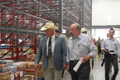 The Texas Commissioner of Agriculture Sid Miller visited the Food Bank for a tour of the warehouse